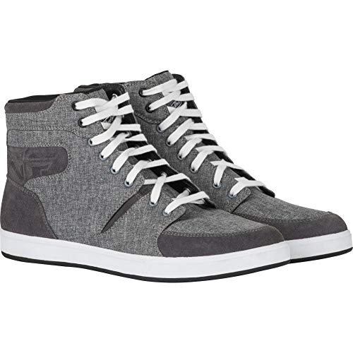 Fly Street F16 Canvas Mens Motorcycle Riding Shoes - Gray - 12
