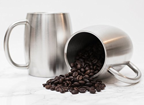 Stainless Steel Coffee Beer Tea Mugs - 14 Oz Double Walled Insulated - Set of 2 Avito - Best Value - BPA Free Healthy Choice - Shatterproof by Avito (Image #1)