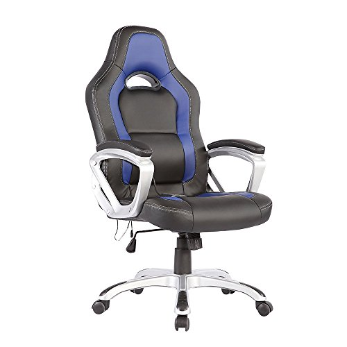 office massage chair heated vibrating pu race car style black blue