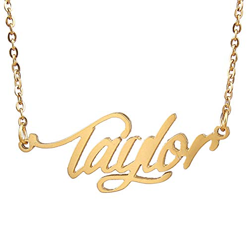 HUAN XUN Gold Color Plated Named Calligraphy Best Friend Necklaces, Taylor