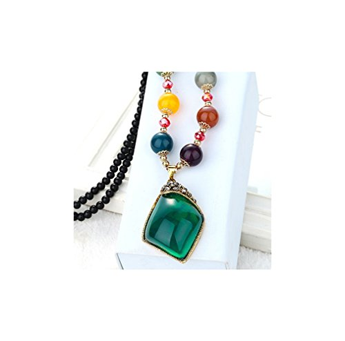 Retro Dark Rust Pendant (Gorgeous Jewelry Bohemia Colorful Beaded Rhombus Shape Diamond Accented Retro Green Gemstone Necklace)