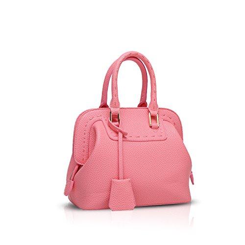 NICOLE&DORIS Mode Bolsos de Mano para Mujer Monederos Bolso Crossbody Mujer Bolso de Bandolera Pequeña Bolsa Durable PU Blanco Rosado