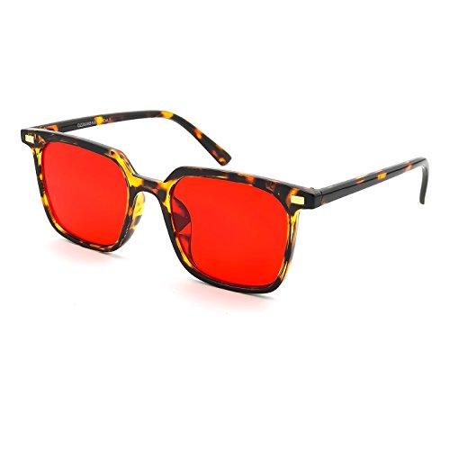 de HIPSTER la unisexe femme vintage de mod HALL et hommes Kiss carré La Lunettes Mode Concept Havane soleil Rouge wqc671pz