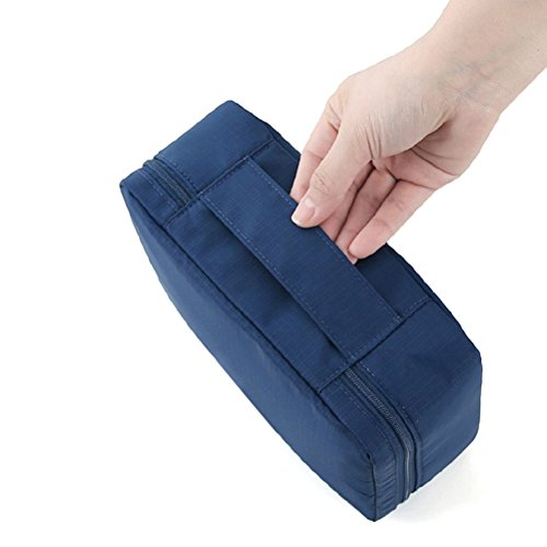 Happy Hours - Portable Multi-layers Mesh Travelling Storage Bag Bathroom Toiletries Wash Case Organizer Makeup Comestic Kit Travel Pouch Waterproof Nylon Oxford Fabric, NavyBlue