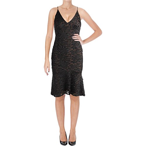 Vera Wang Women's Floral Applique Slip Dress, Black/Nude, 6