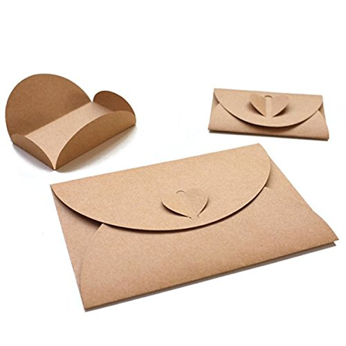 HansGo 100 Pcs Handmade Mini Gift Card Envelopes holders Cute Post Card Heart Clasp, Mini Kraft Paper (Handmade Note Card Set)