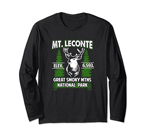 Unisex Mount Mt LeConte Buck Deer Smoky Mountains Long Sleeve Shirt Large Black Smoky Mountain Deer