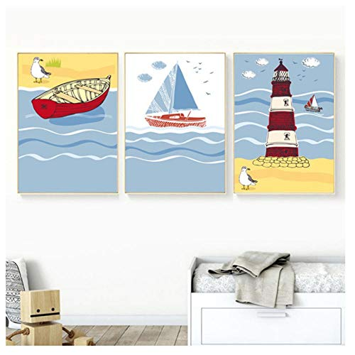 XIXISA Cartoon Seagull Ship Beacon Canvas Painting Nordic Posters and Prints Wall Pictures for Kids Baby Room Nursery Home Decoration 5070cm No Frame