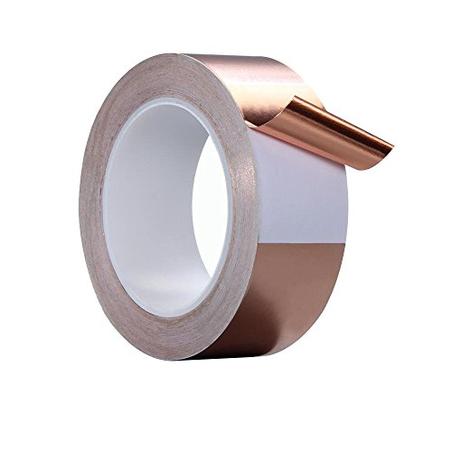 Copper Tape, AIYUNNI 2inch X 22yards(50mmx20m) Copper foil Tape with Double-Sided Conductivity for Slug Repellent, EMI Shielding,Stained Glass,Soldering,Paper Circuits,Electrical Repair and grounding