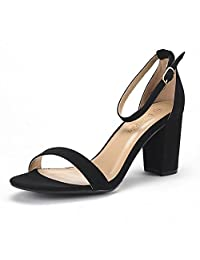 DREAM PAIRS CHUNK Women's Evening Dress Low Chunky Heel Open Toe Ankle Strap Stiletto Wedding Pumps Sandals
