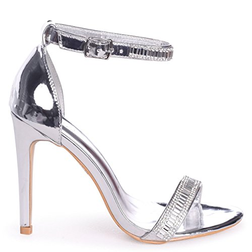 Anita - Silver Stiletto Heel with Diamante Front & Ankle Strap Silver wYEpEYMg
