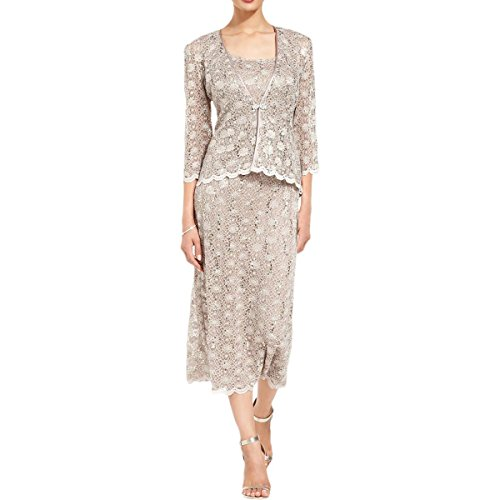 R&M Richards Women's 2 PCE Lace Swing Jacket Dress, Mocha, ()