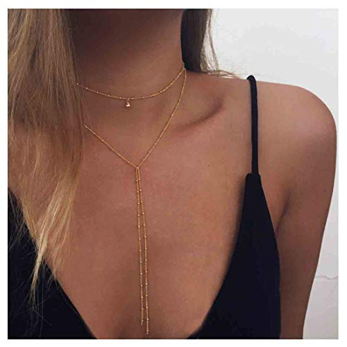 Yfe Wrap Y Necklace Jewelry Gold Chain Tassel Pendant Necklaces for Women and Girls Tassel Choker Jewelry ()