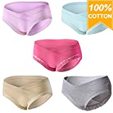 Mommy Jennie Under Bump Cotton Maternity Panties,Healthy Maternity Pregnancy Underwear,Multi Pack(5 pack3 Labe XL=US M)