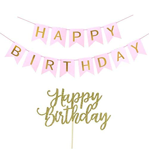 (Happy Birthday Banner, Happy Birthday Cake Topper, Pink and Gold)