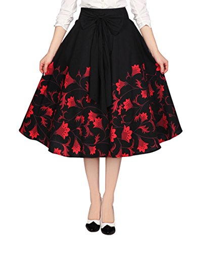 Plus Women's Vintage Inspired 60's Falling Flower with Big Bow Black Swing Midi Skirt (18 (EU20))