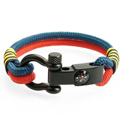 MEITS Nautical Rope Bracelet With Compass Shackle Sailor Bracelet Surfer Bracelet Great Jewelry Gift Idea for Men & Women (Large, Alaska) ()
