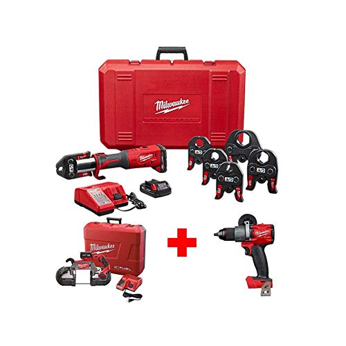 Milwaukee M18 18-Volt Lithium-Ion Brushless Cordless Force Logic Press Tool Kit with M18 FUEL Band Saw Kit and Hammer Drill with Milwaukee ONE-KEY TICK Tool and Equipment Tracker