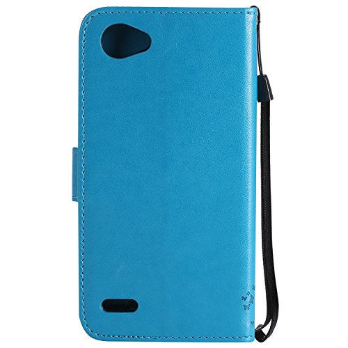 Funda LG Q6, SsHhUu Funda PU Piel Genuino [Ranuras para Tarjetas] [Cierre Magnetico] con Lápiz óptico + Acollador para LG Q6 M700A M700DSK M700AN Q6+ Q6a 5.5 Rojo Azul