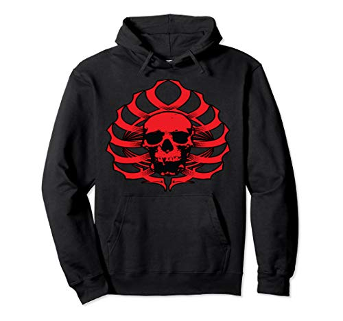 - Skull-Ribcage Tribal (Red) Pullover Hoodie For Special