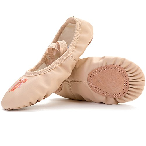 FEETCITY Pro High-Count Ballet Dance Slippers For Toddlers/Kids/Girls/Women Apricot 5.5 B(M) US Women