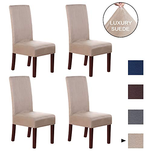 H.VERSAILTEX Luxurious Soft High Stretch Suede Dining Room Chair Slipcovers High Chair Covers Velvet Plush Dining Chair Protector Cover, Perfect for Pets, Kids, Elderly, Wedding, Party (4 Pack, Sand)