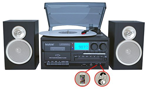 Boytone BT-28SBS, Bluetooth Classic Style Record Player Turntable with AM/FM Radio, Cassette Player, CD Player, 2 Separate Stereo Speakers, Record Vinyl, Radio, Cassette to MP3, SD Slot, USB, AUX by Boytone (Image #3)
