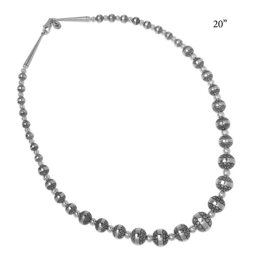 Sterling Silver Graduated Concha Bead Necklace, 20 Inch