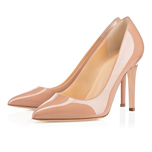 EDEFS Womens High Heels Court Shoes Slip-on Dress Stiletto Pumps Closed Toe Classic Ladies Shoes Beige 64Uz7aUr