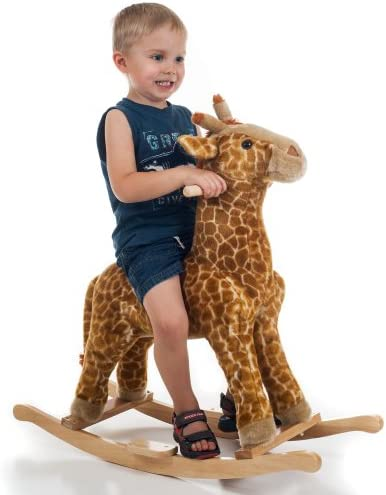 Happy Trails Giraffe Plush Rocking Animal Ride On