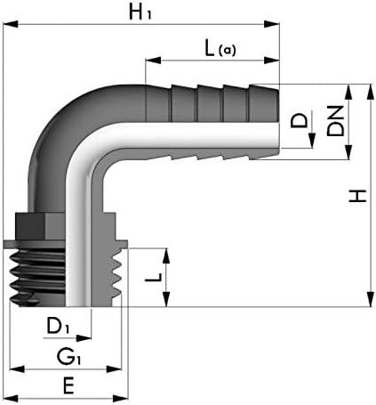 1//2 REKUBIK Winkel Schlaucht/ülle 90/° Au/ßengewinde x T/ülle Gr/ö/ße 3//8 AG x 13mm