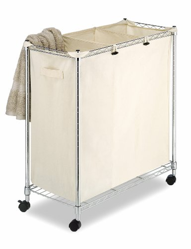 Whitmor 3 Section Rolling Supreme Laundry Sorter with Removable Canvas Bags ()