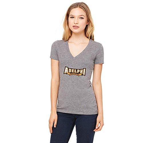 Adelphi University Panthers Womens Short Sleeve 50/50 V-Neck Shirt Distressed Logo Design 2 (XL)