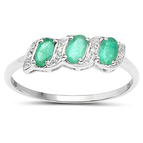 The Diamond Emerald Collection: 9ct White Gold Emerald & Diamond Eternity...