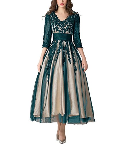 FNKS CRAFT Women's Tulle Prom Party Evening Dresses Lace Applique Tea-Length Ball Gowns Beach Wedding Party Dresses