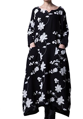Mordenmiss Women's Spring Embroidered Plus Size Maxi Dress With Pockets Large Style 1 Black