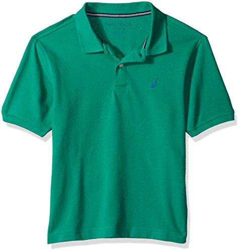 Nautica Big Boys' Short Sleeve Deck Polo With Stretch, Anchor Golf Green, X-Large (18/20) (Polo Golf Sleeve Shirt Short)