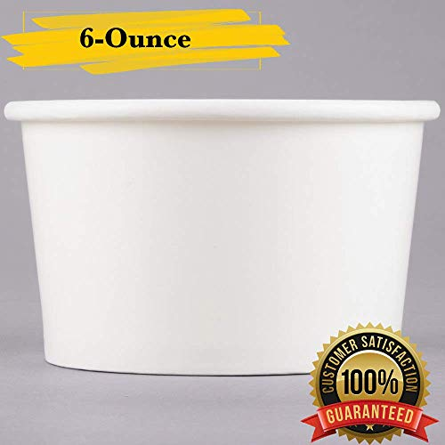 MM Foodservice White Paper Ice Cream Cups, Disposable Paper Frozen Yogurt Cups, Leak Resistant Paper Cups (25, 6-Ounce)
