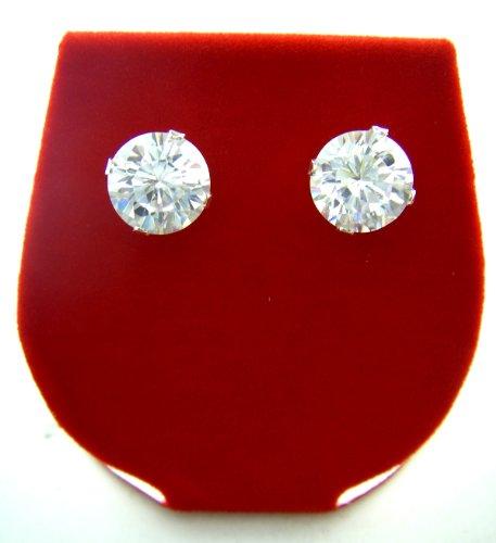 Sterling Silver Round Cubic Zirconium Stud Earrings - 4 MM (Earring Zirconium Round)