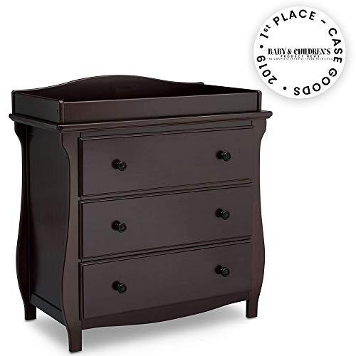 Delta Children Lancaster 3 Drawer Dresser with Changing Top, Dark Chocolate