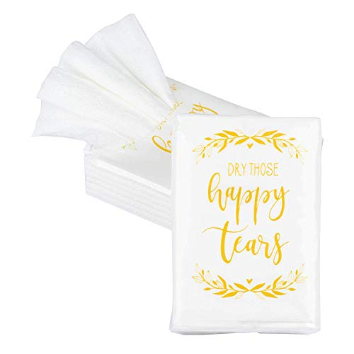 Juvale 60-Count Wedding Facial Tissue Packs, Dry Those Happy Tears Tissues for Guests, 3-Ply, 10 Sheets Each Pack, Bulk Wedding Party Favors Supplies, Ceremony, Travel Tissue Size, 2.9 x 2 Inches ()