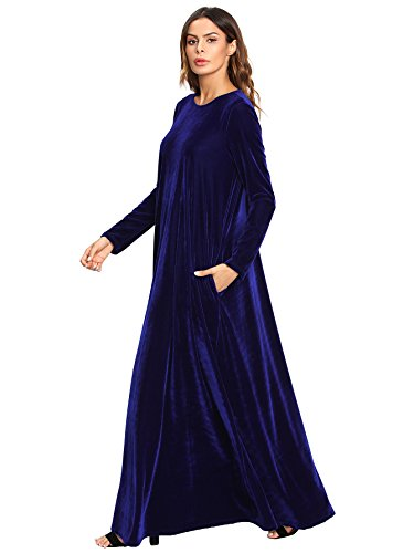 d502e30f6 MAKEMECHIC Women's Elegant Long Sleeve Velvet Loose Maxi Dress - Buy ...