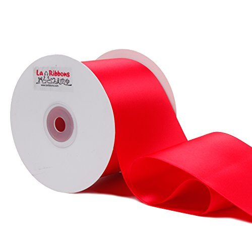 LaRibbons Double Face Satin Ribbon Roll, 3 inch Wide, Red, 25 Yards