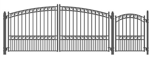 ALEKO SET14X4PARD Paris Style Galvanized Dual Swing Steel Gate Set Driveway Security Gate & Pedestrian Gate Black