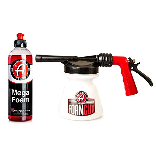 Adam's Standard Foam Gun - Produces Thick, Sudsy Foam for Car Washing - Use with Regular Garden Hose - Fun, Efficient Way to Foam Down Your Vehicle (Foam Gun & 16 oz Mega Foam)