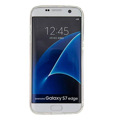Trumpshop Smartphone Carcasa Funda Protección para Samsung Galaxy S7 edge + Atrapasueños + TPU 3D Liquido Dinámica Sparkle Estrellas Quicksand Resistente a arañazos Caja Protectora Smile