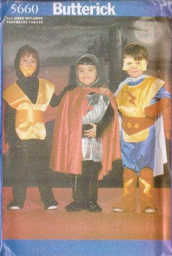 OOP Butterick Costume Pattern 5660. Child's Szs 2;3/4;5/6;7/8 Super Hero & Ninja Costumes ()