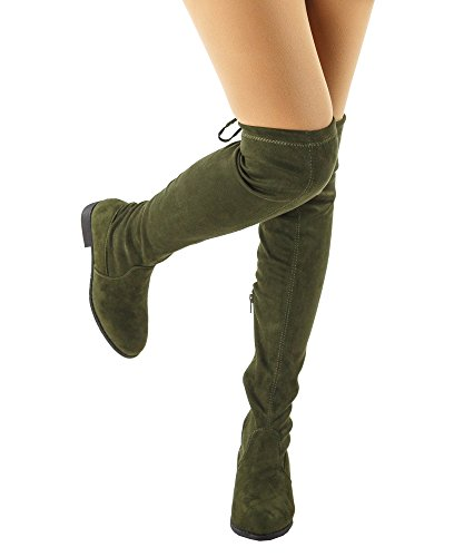 RF ROOM OF FASHION Women's Faux Suede Back Tie Fitted Flat to Low Chunky Heel Over The Knee High Boots Olive (8) by RF ROOM OF FASHION (Image #1)