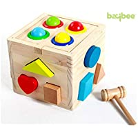 Baybee Premium Wooden Hammer Case - Shape Sorting Wooden Cube/Educational Toy for Children