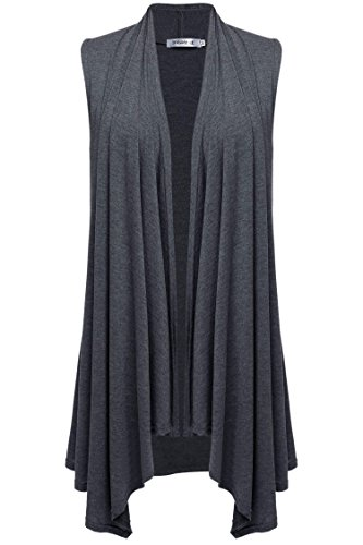Meaneor Women's Solid Color Sleeveless Asymetric Hem Open Front Vest Cardigan Gray XXL